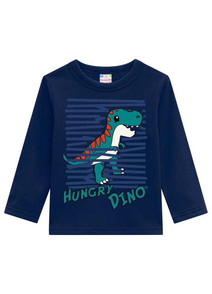 Conjunto Dino Azul Marinho Moletom Masculino Brandili
