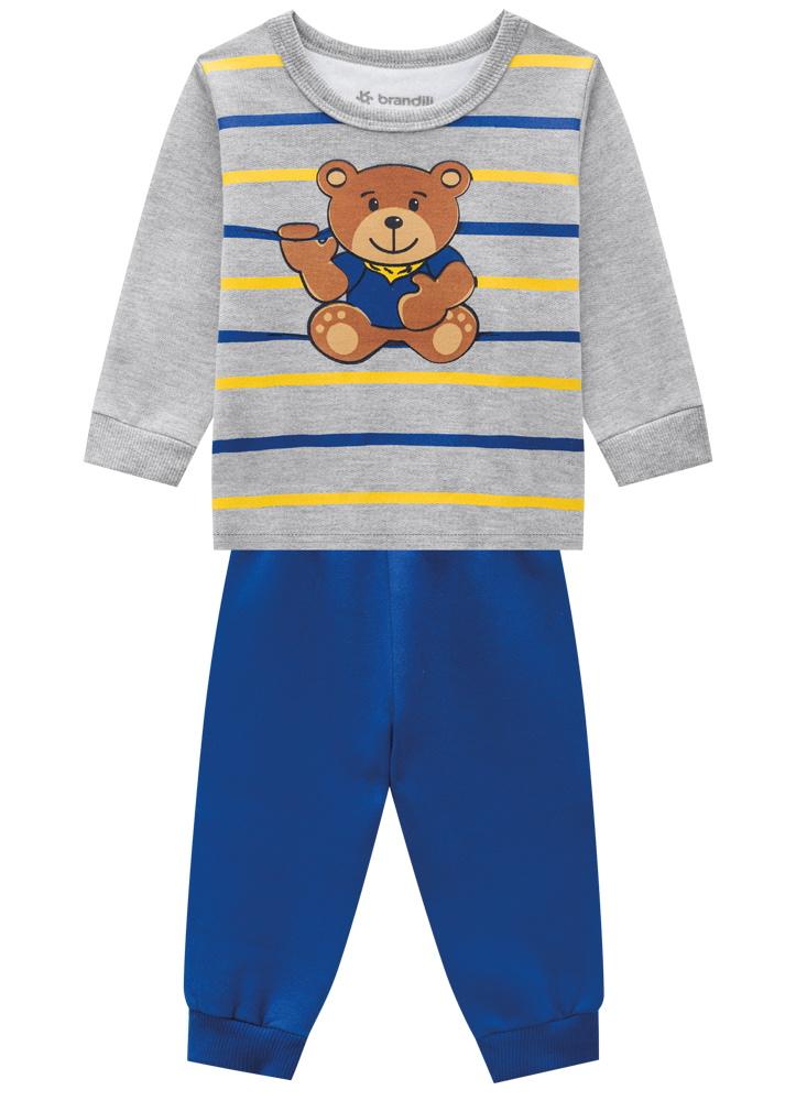 Conjunto Ursinho Azul Blusa e Calça Moletom Masculino Brandili