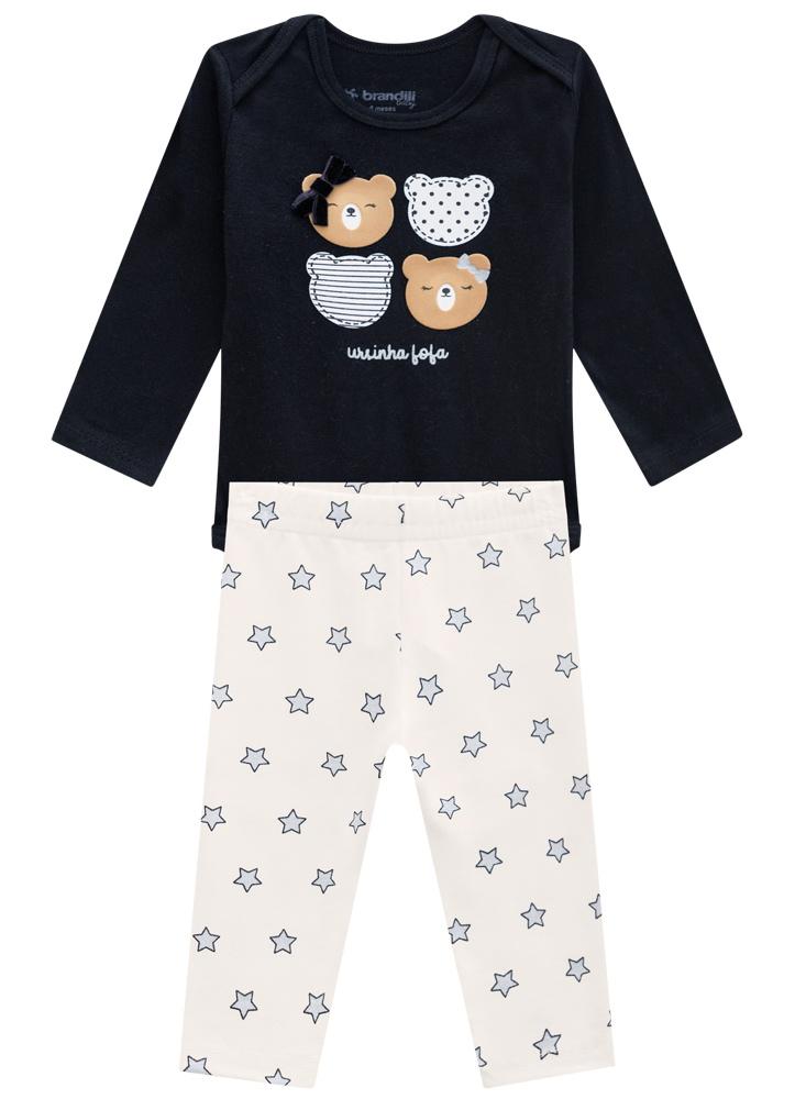 Conjunto Urso Marinho Body E Calça Feminino Brandili