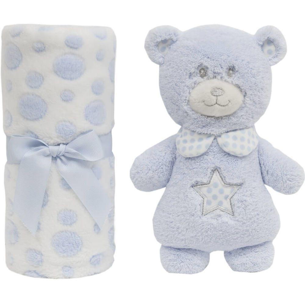 Gift Manta e Ursinho Pelúcia Azul Buba