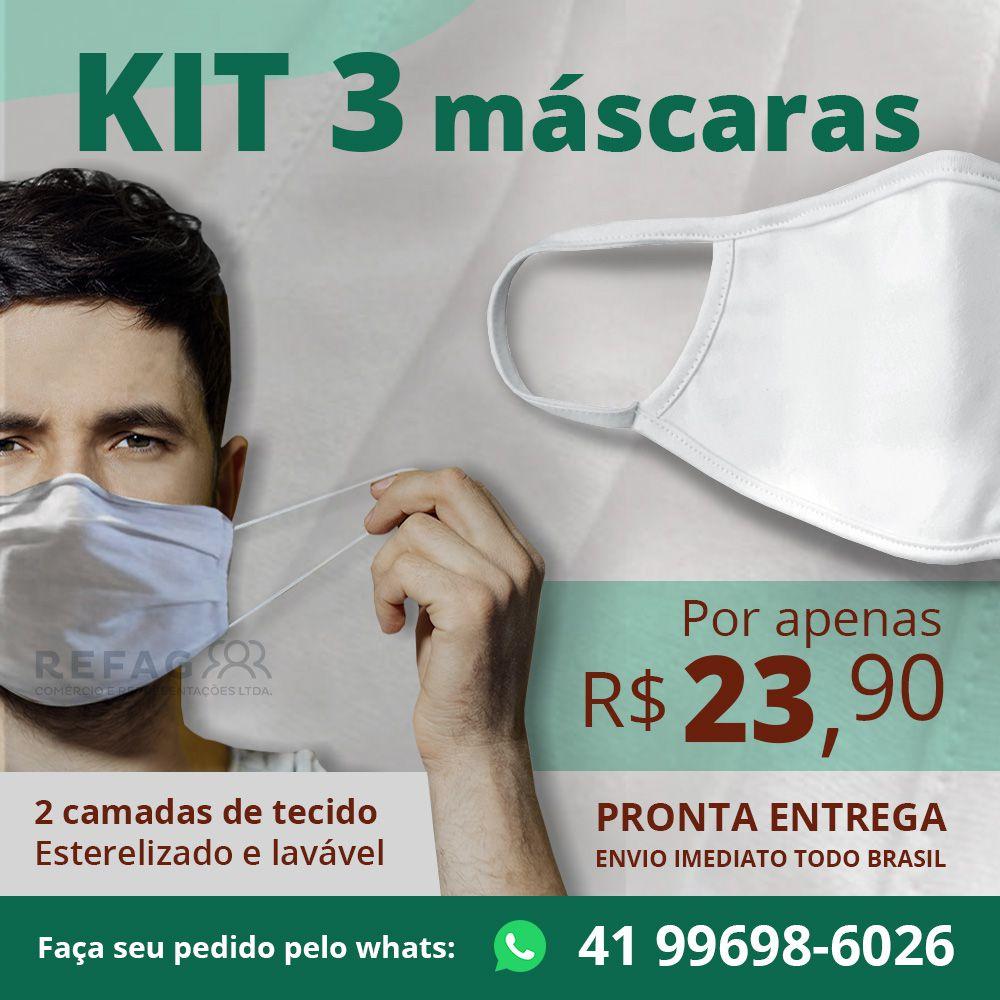 Kit 3 und Mascara Tecido Reutilizavel - Algodao 180G Branco OutS