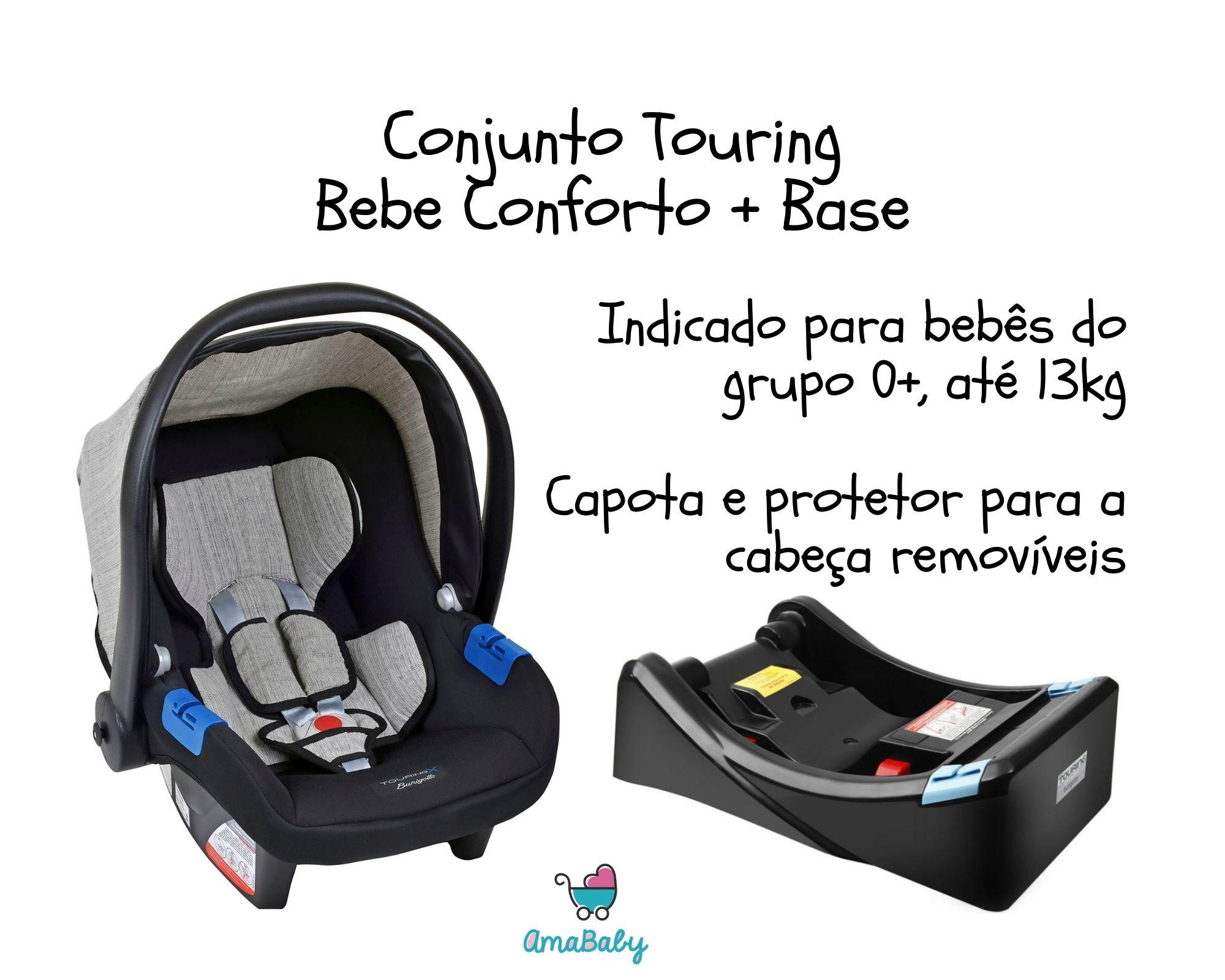 Kit Bebe Conforto Touring Gray e Base Touring Burigotto