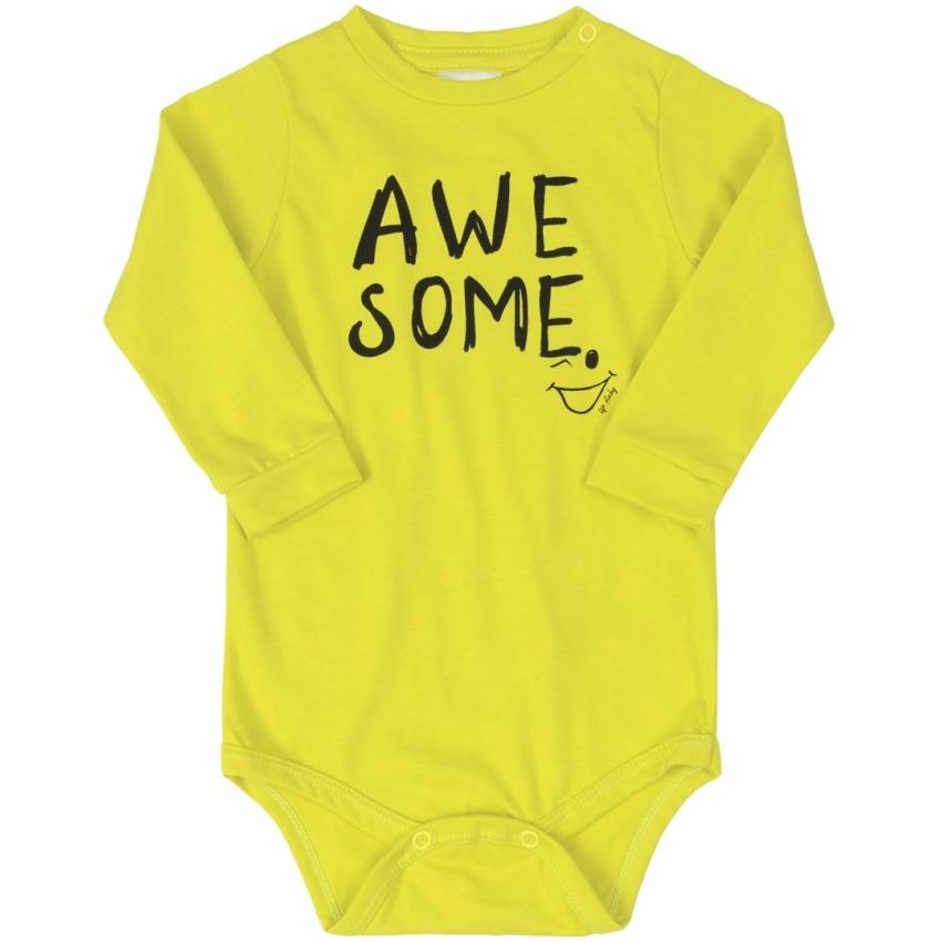 Kit Body Calca E Babador Amarelo Acid Up Baby