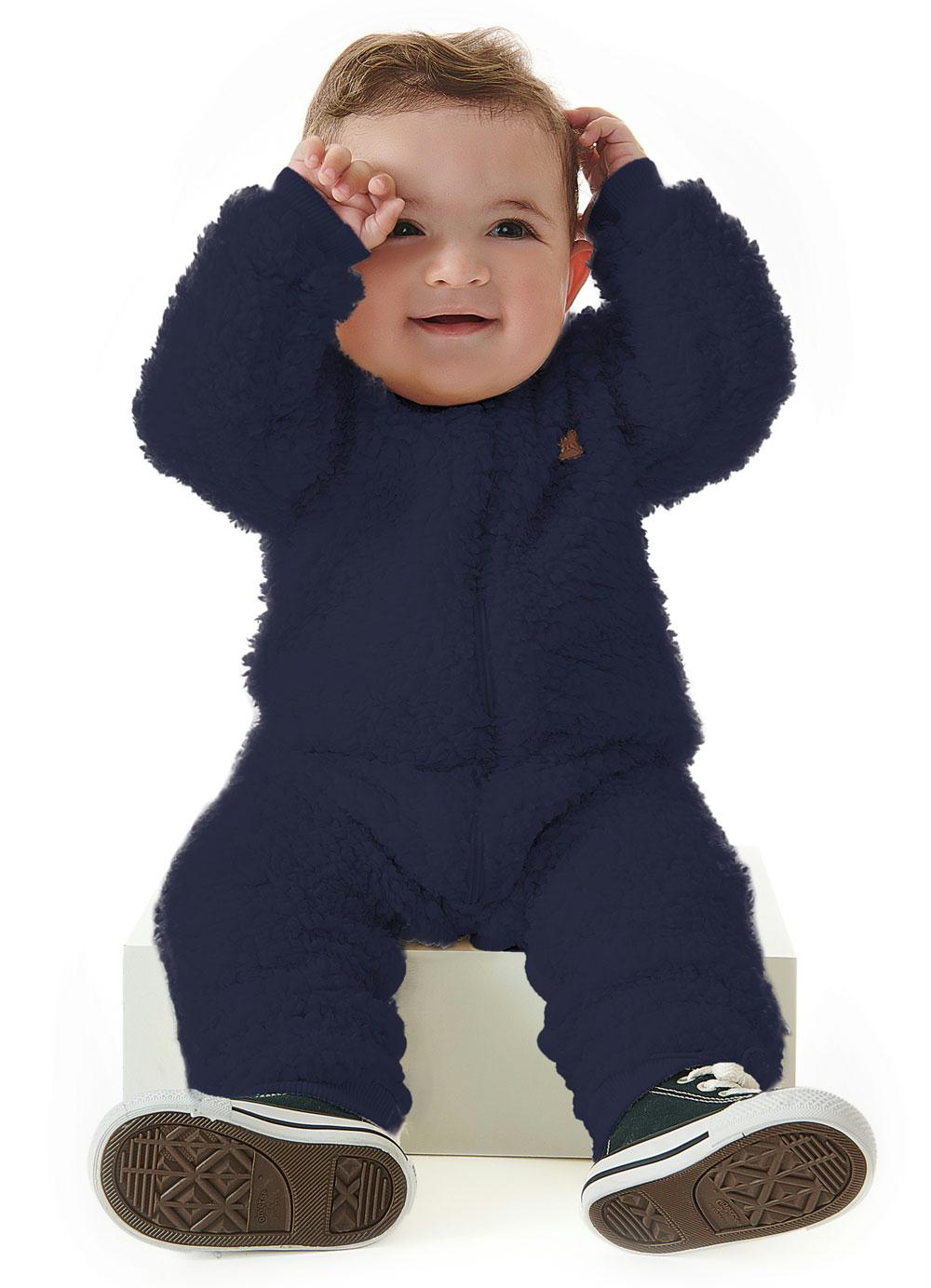 Macacao Manga Longa Pelo E Malha Azul Up Baby