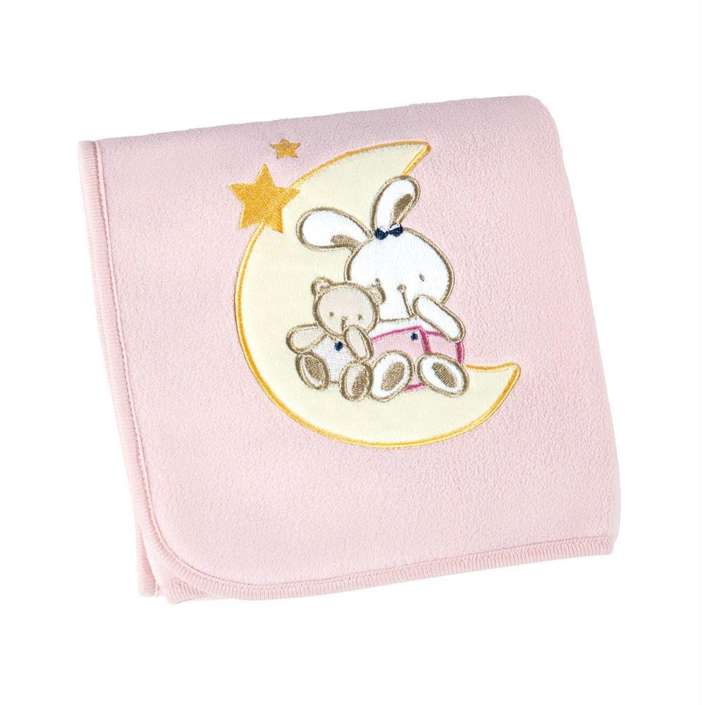 Manta Fleece Bordada Bebe Mini Rosa 82 cm x 82 cm