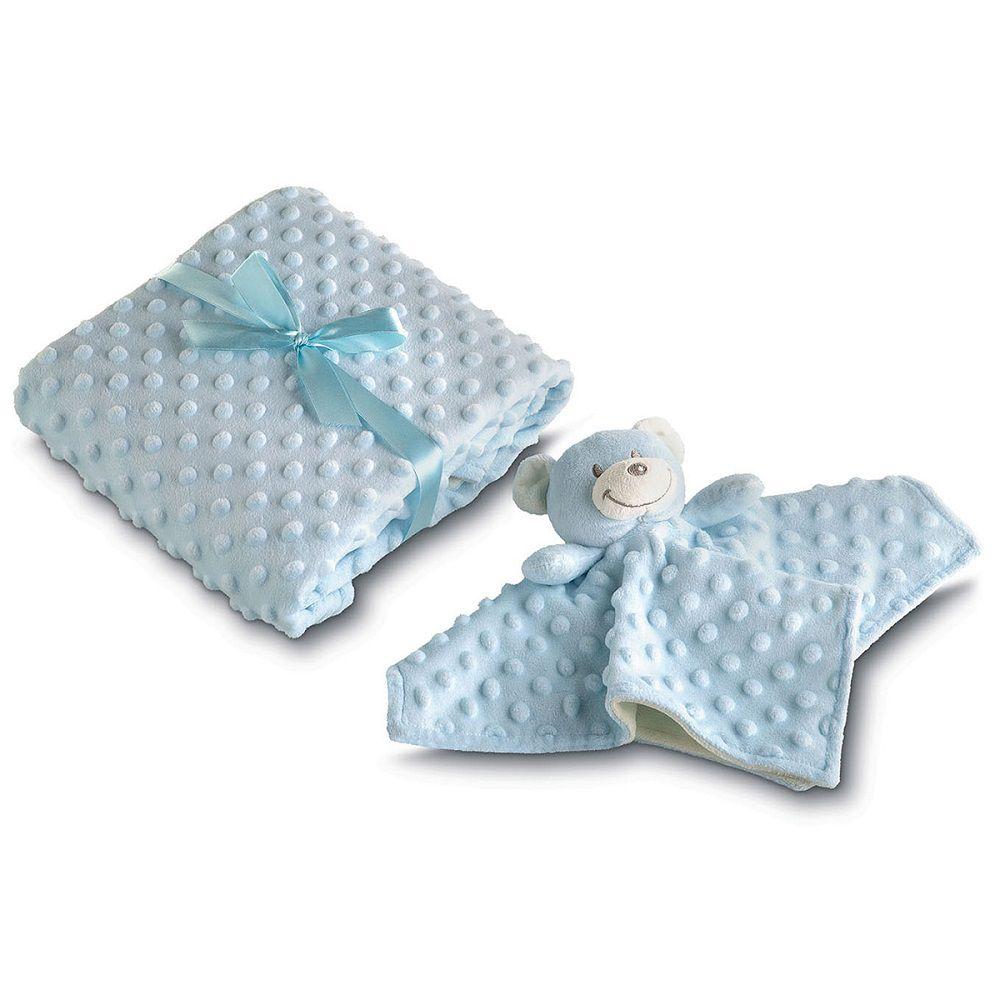 Manta para Bebê Fleece Dupla Face com Naninha Azul Lepper