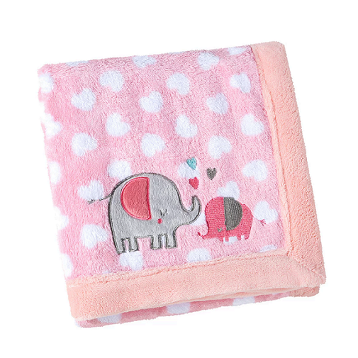 Manta Fleece Bordada Elefante Rosa 76 x 102 cm Lepper