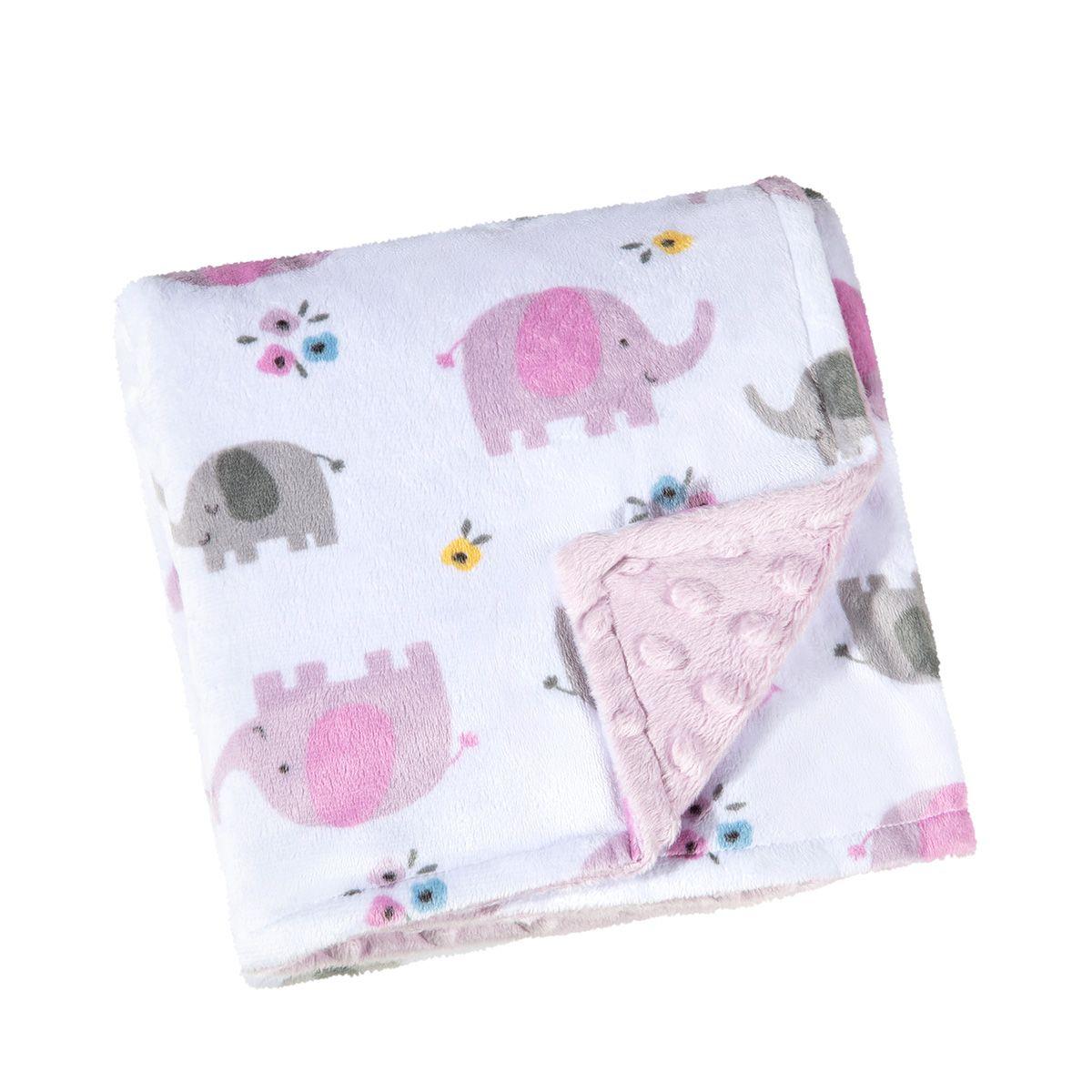 Manta para Bebê Dupla Face Fleece Elefante Rosa Lepper