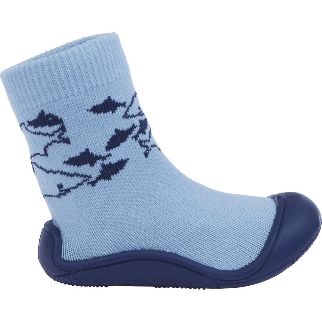 Meia Com Sola Cano Alto Pimpolho Azul Tubarão
