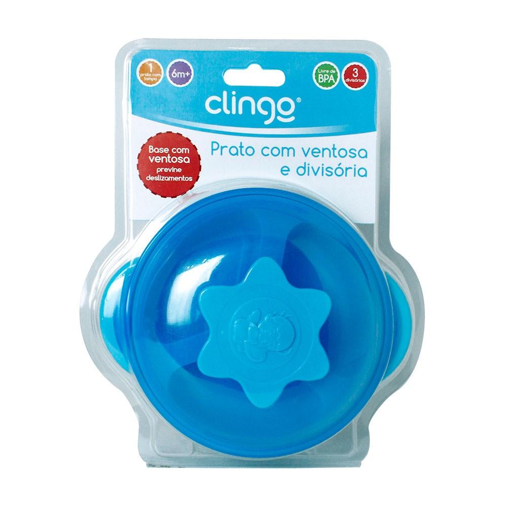 Prato Com  Ventosa E Divisoria Azul Clingo