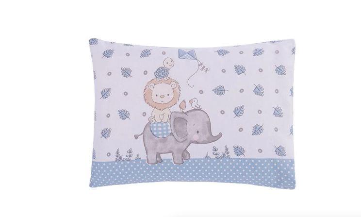 Travesseiro C/ Fronha Estampada Zoo Azul