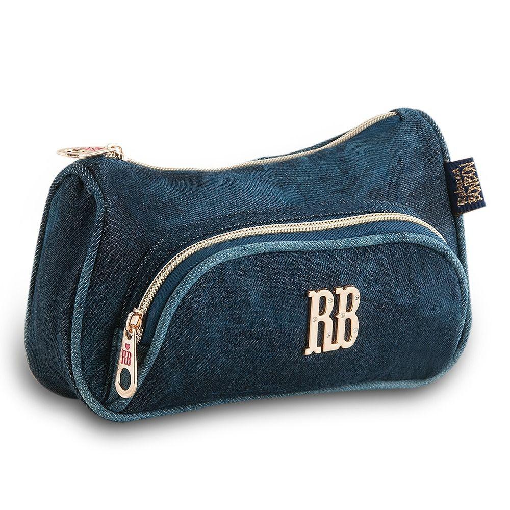 Estojo Escolar Duplo Jeans RB8228 - Azul - Rebecca Bonbon