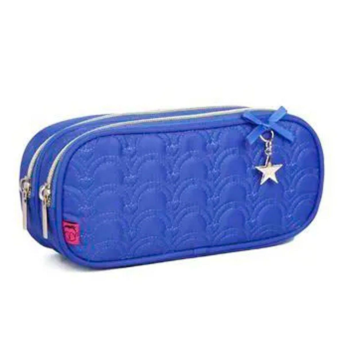 Estojo Escolar em poliéster com Pingentes Estrelas Kika - Azul