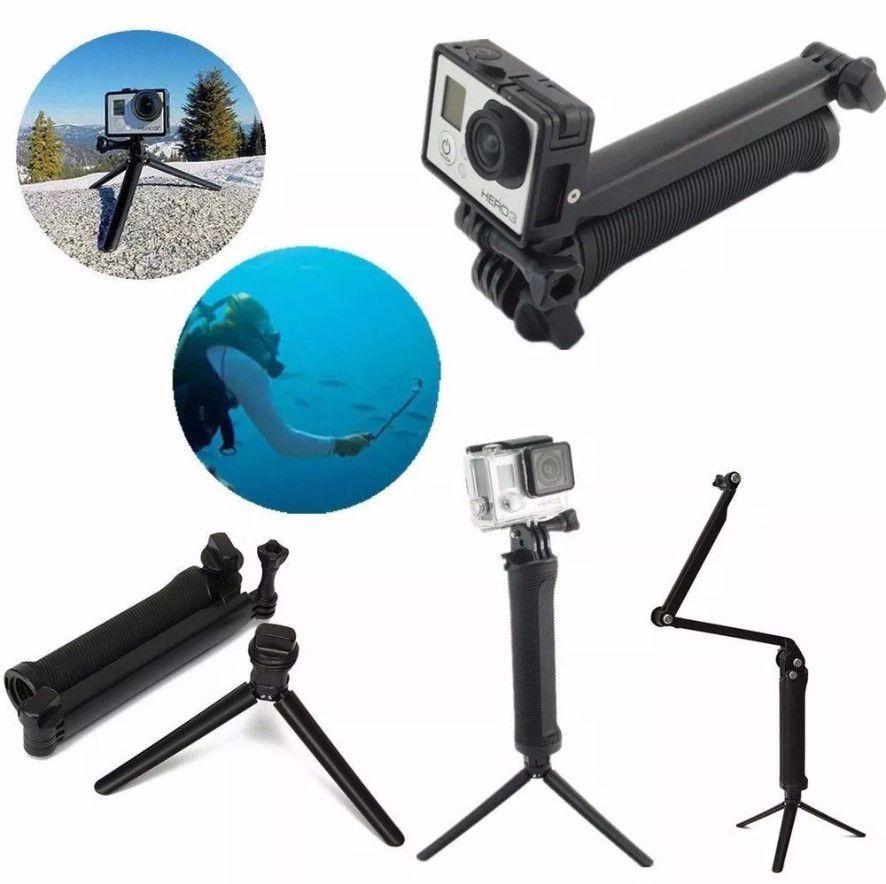 Bastão 3 Way Articulável Para Câmeras de Ação GoPro Hero SJCam