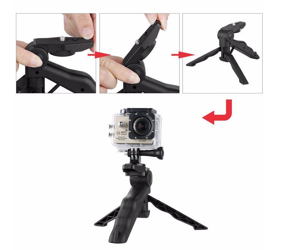 Bastão de Mão e Mini Tripé Para Câmeras de Ação Esportivas Compactas Dslr