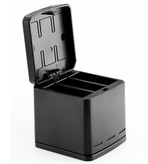 Carregador Triplo Box Design Telesin Para Câmeras GoPro Hero 5 Black Hero 6 Black Hero 7 Black