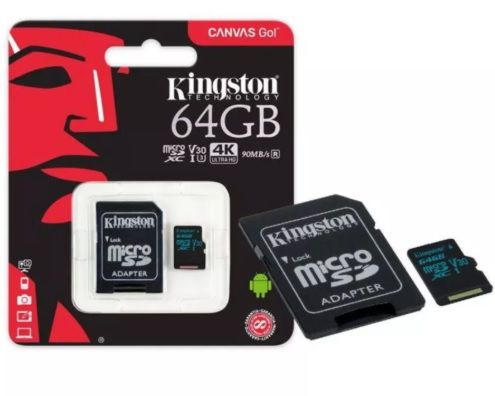 Cartao Memoria 64gb Classe 10 Canvas Go Kingston 90mbs Sdcg2