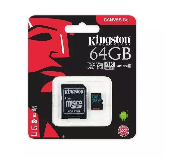 Cartao Memoria 64gb Classe 10 Canvas Go Kingston 90mbs Sdcg2