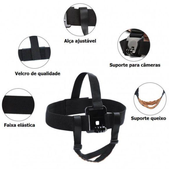 Suporte de Cabeça para GoPro e Câmeras Similares com Alça de Queixo