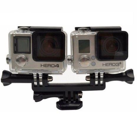 Suporte de Montagem duplo Para Câmeras de Ação ou Esportivas GoPro SJCam Xiaomi Xtrax Atrio Eken Action Cam