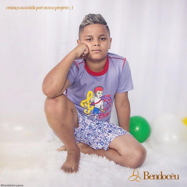 Pijama Davi - Modelo jovem - roxo verão   - Bençãos do Céu