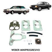 Jogo Juntas Carburador Weber Mini Progressivo Gol Voyage Saveiro Parati 1.6 1980 até 1985 Chevette Marajó 1.4 1.6  Corcel Belina Del Rey 1.6 Álcool e Gasolina