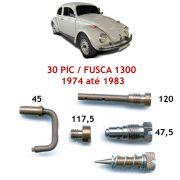 Kit Gicle Carburador Solex 30 PIC Fusca 1300 1974 até 1983 Gasolina