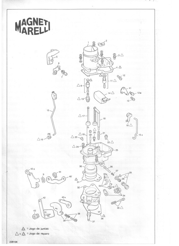 Gargulante Suplementar Carburador Weber 228 DFV Pick-up 6CC 1957 em diante