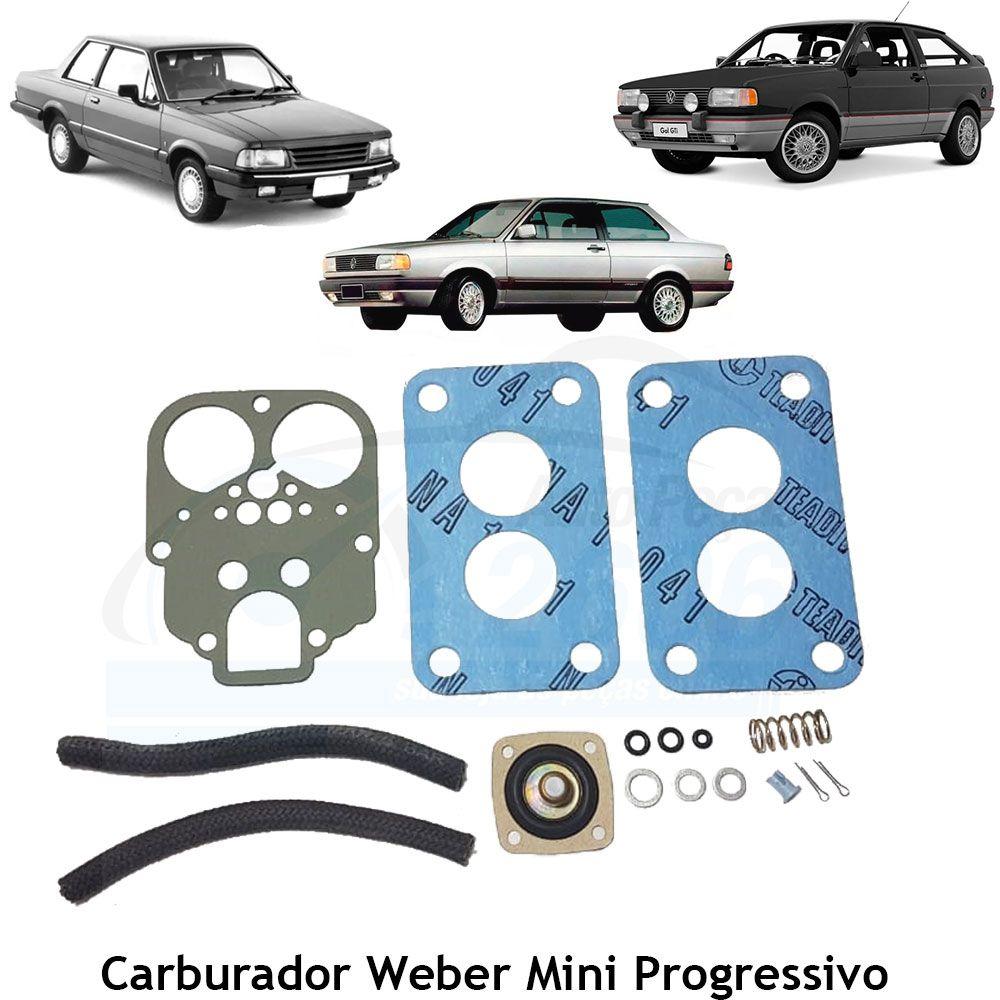 Jogo Juntas Carburador Weber Mini Progressivo Gol Voyage Saveiro Parati 1986 em diante Corcel Belina Del Rey 1.6 - Álcool e Gasolina