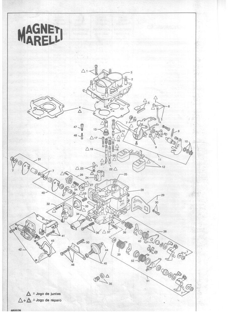 Kit Embuchamento Carburador Weber 460 Escort Belina Del Rey CHT 1.6 - 1983 em diante - 2º Corpo