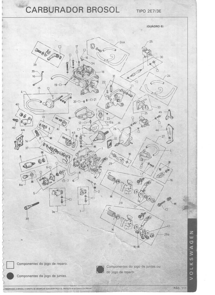 Kit Gicle Carburador Solex 2E Gol Voyage Parati Saveiro 1.8 Gasolina 1985 até 1991