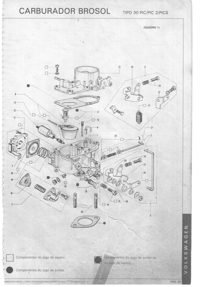 Kit Gicle Carburador Solex 30 PIC Fusca 1300 1968 até 1974 Gasolina