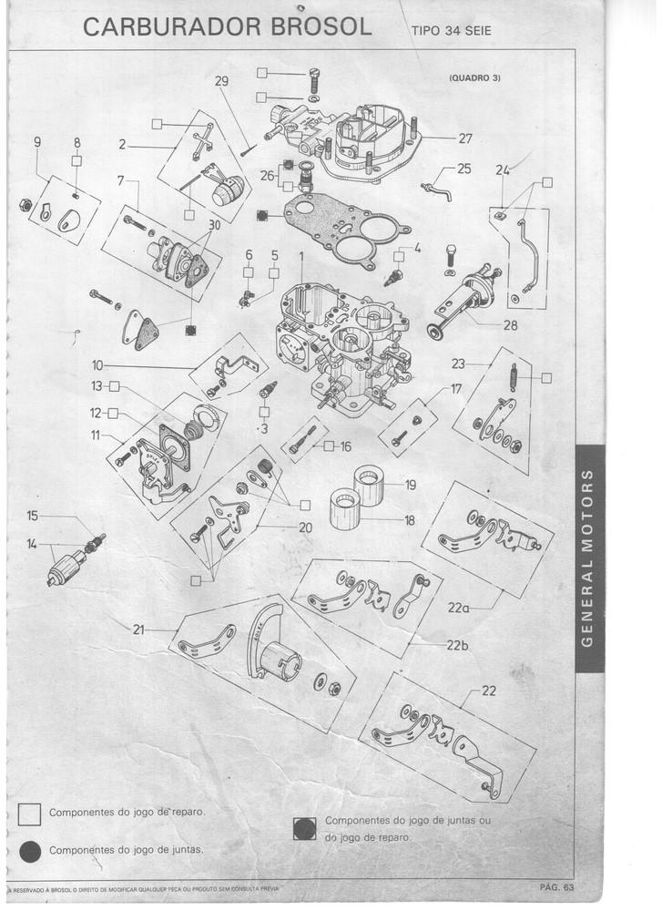 Kit Gicle Carburador Solex 34 SEIE Maverick 1975 até 1979 F100 1978 em diante 4c Gasolina