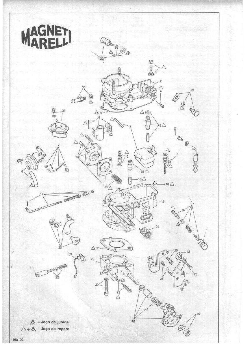 Kit Gicle Carburador Weber 190 Uno Fiorino Elba 1.3 Álcool 1989 em diante