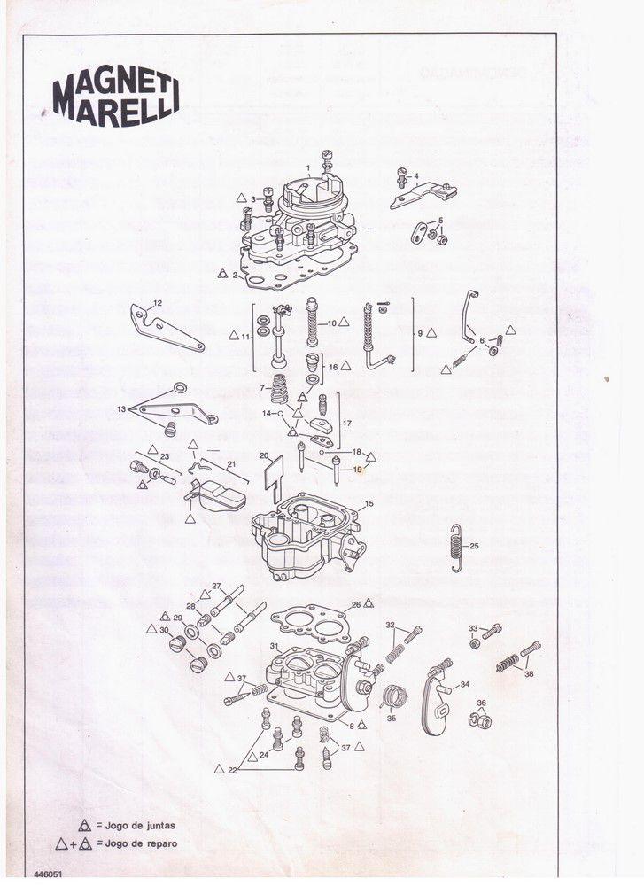 Kit Gicle Carburador Weber 446 DFV Caravan 6cc 1984 em diante Gasolina