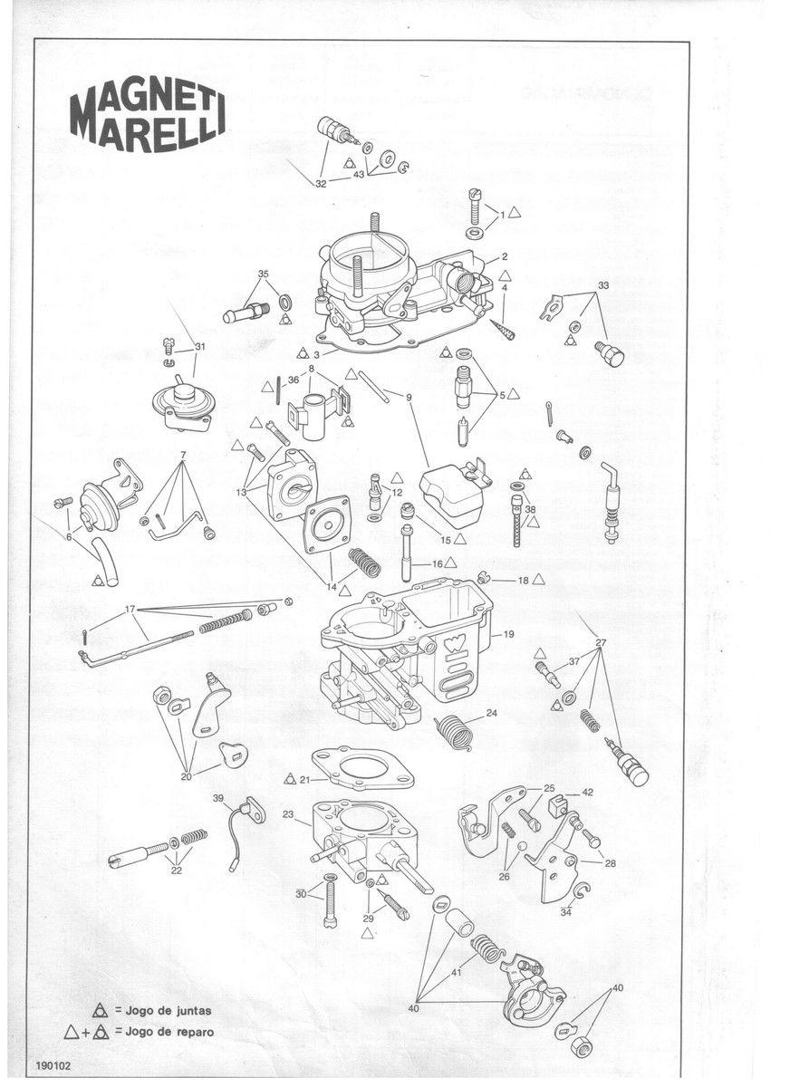 Kit Gicle Crburador Weber 190 Uno S CS Premio Elba 1.5 1993 > Gasolina