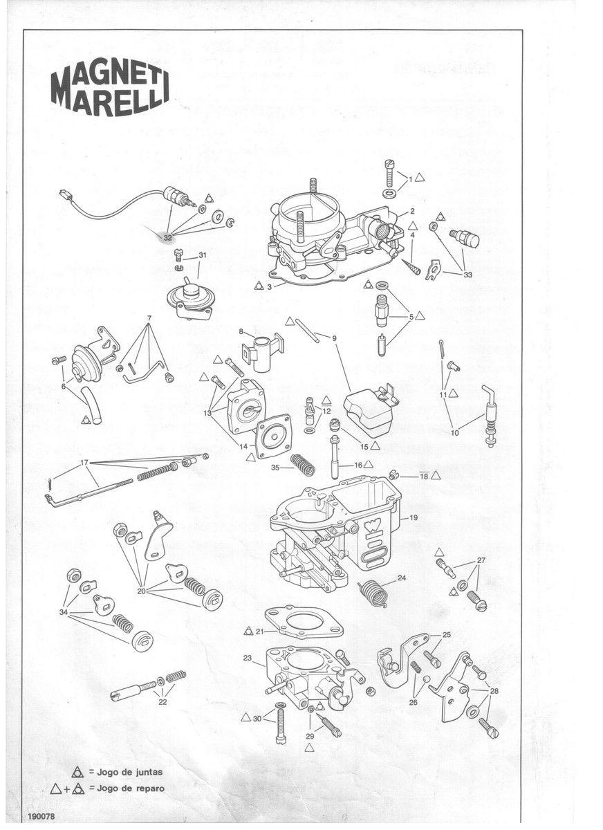 Reparo Carburador Weber 190 Uno Premio Elba Fiorino 1.0 1.3 1.5 Álcool e Gasolina