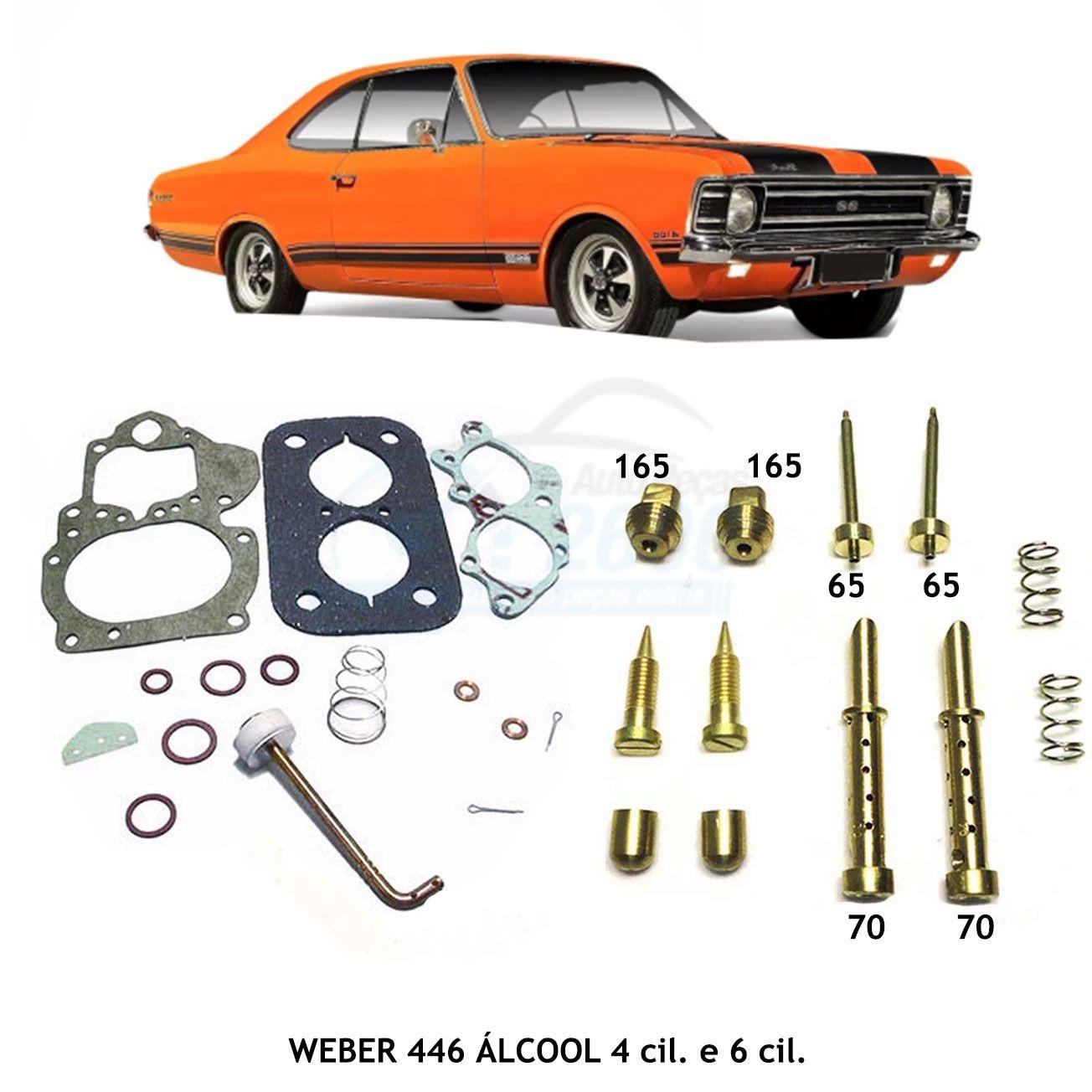 Reparo Jogo Juntas e Kit Gicle Carburador Weber 446 DFV Opala Caravan 4 cil 6 cil Álcool