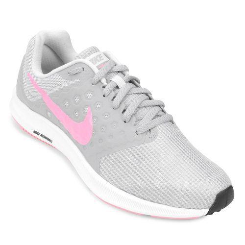Tênis Nike Downshifter 7 Cinza Rosa Feminino