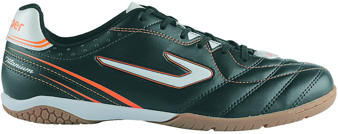 Chuteira Topper Titanium 6 Futsal Preto / Branco / Laranja 42004061577