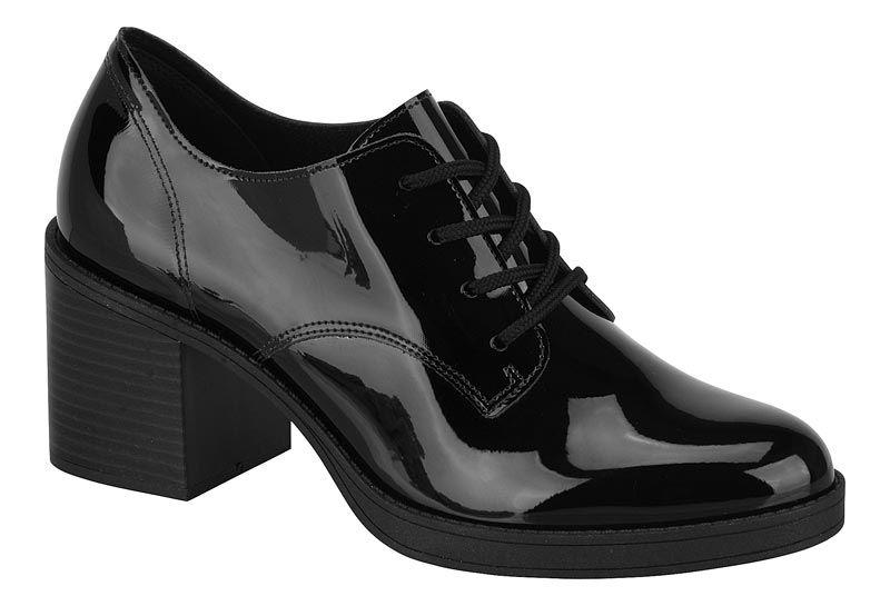 1f58c3727 Sapato Oxford Feminino Beira Rio Conforto Preto Verniz 4225.101 - BRAND  SHOES