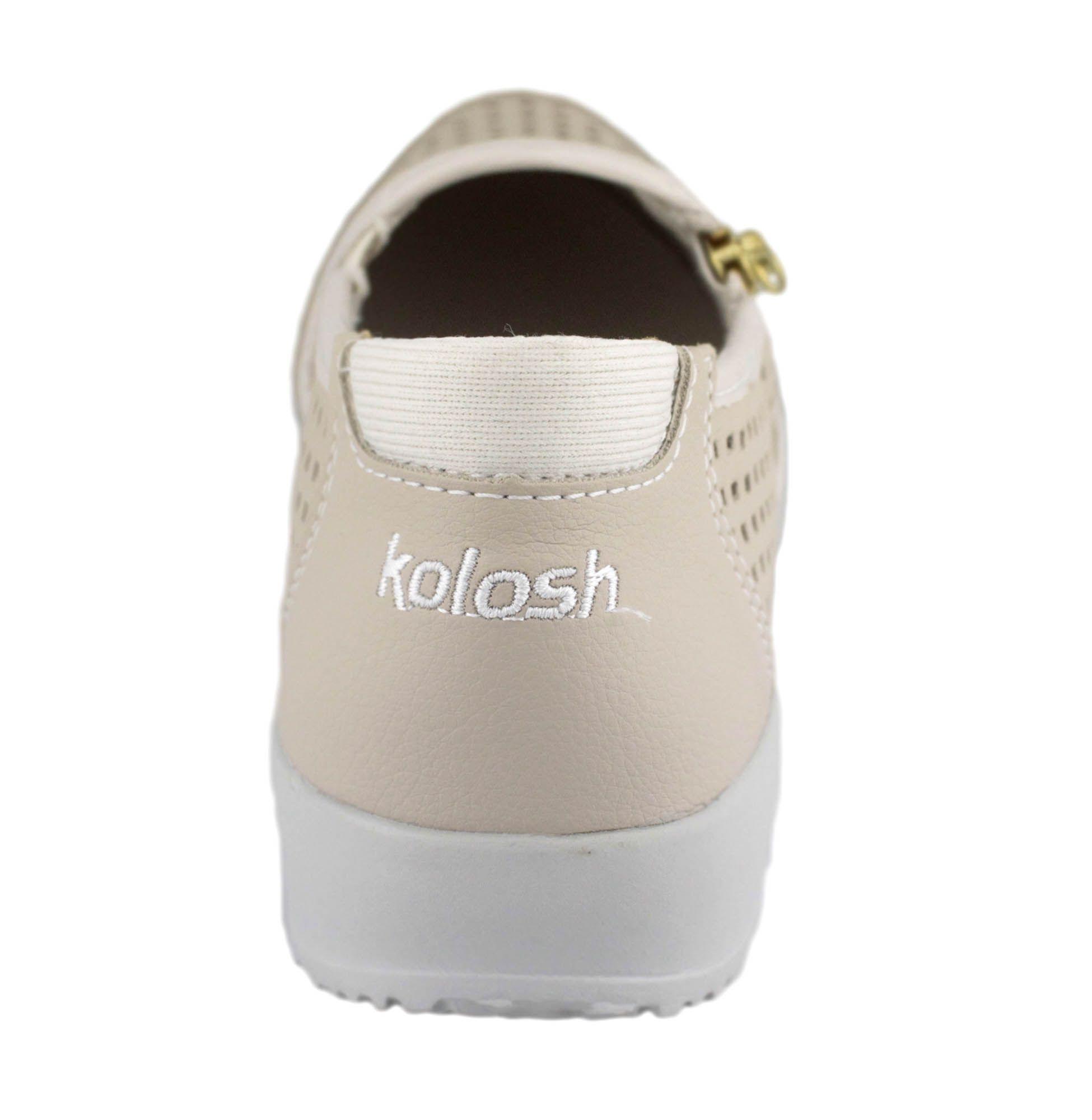 Tênis Casual Feminino Kolosh Ziper Creme Machiato C0447