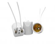 Bocal/Soquete E27 liso spot com rabicho porcelana, cor branco, 4A/0-250V, caixa com 25 unidades
