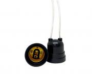 Bocal/Soquete E27 pendente rabicho termoplástico, cor preto, 4A/0-250V, caixa com 50 unidades