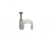 Fixador de fio circular, 10,0mm², cor branco,  (pacote 50un.)