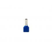 Terminal ilhós duplo tubular 2x2,5mm 21A, cor azul, pacote 50 unidades