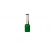 Terminal ilhós simples tubular 6,0mm 36A, cor verde, (pacote 50un.)