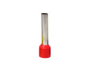 Terminal ilhós simples - tubular longo 10,0mm² 50A, cor vermelho, pacote 50 unidades