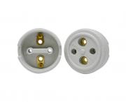 Tomada externa polarizada, porcelana, 30A/0-380V 2 pólos, caixa 10 unidades