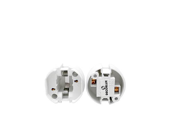Base G24d3  para lâmpada fluorescente, termoplástico, cor branco, 2A/250V 2pinos, pacote 50un